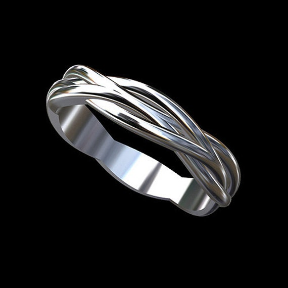Solid 14k White Gold Twisted Infinity Men S Wedding Band