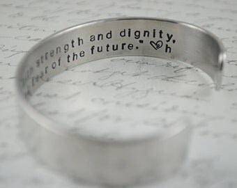 She is Clothed with Strength and Dignity, She Laughs without fear of the Future Secret Message Hand Stamped Bracelet- Personalized Bracelet
