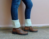 Knit Boot Cuffs Boot Toppers  Leg Warmers Ankle Warmers Boot Socks in Cream Cables Winter Accessories Gift under 25
