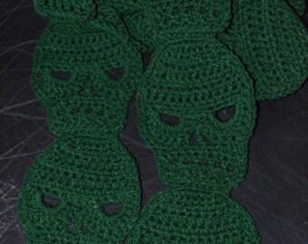 Crocheted Skull Scarf in Hunter Green