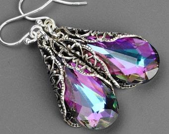 Pink Purple Crystal Earrings - Aqua Blue Lilac Pink Swarovski Crystal Drop Earrings - Silver Victorian Earrings, Sterling Silver Ear Wires