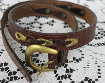 Vintage Leather and Brass Belt