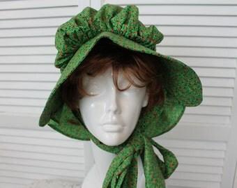 Vintage Regency Hat Green Floral  Costume