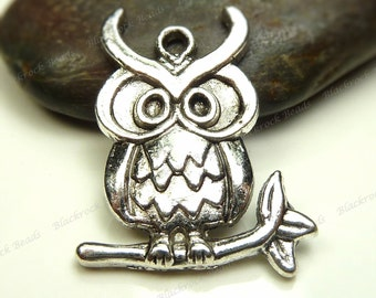 Bulk 24 Owl Charms 24x18mm Antique Silver Tone Metal - Lead and Nickel Free, Pendants, Detailed, Wholesale - BM12