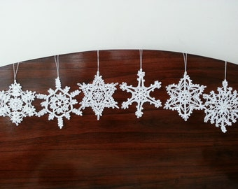 Six Crochet Snowflake Ornaments White Christmas Decorations Wall Hanging Modern Wall Art  Baby Mobile Parts Home Decorations
