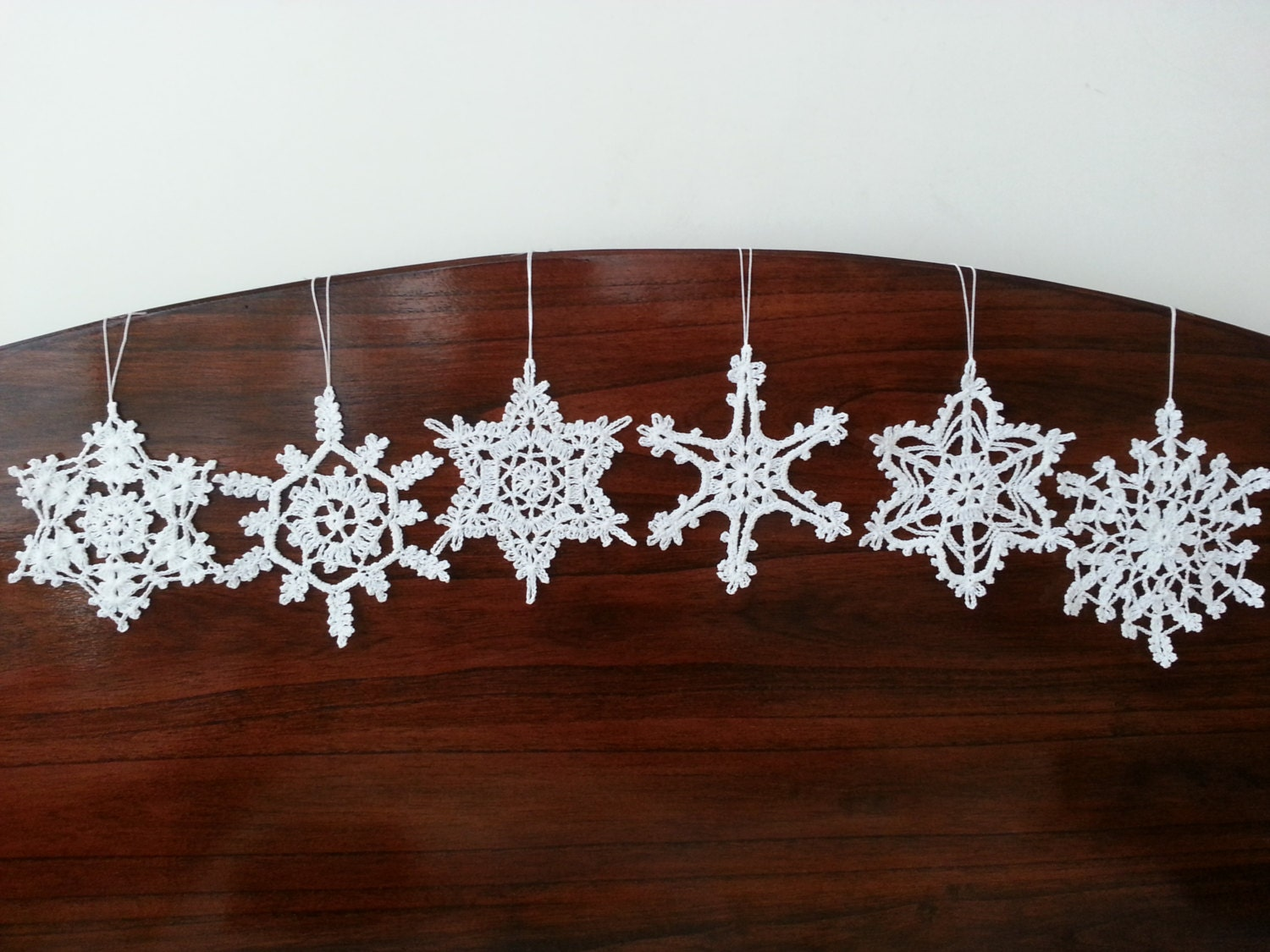 Six crochet snowflake ornaments white christmas decorations