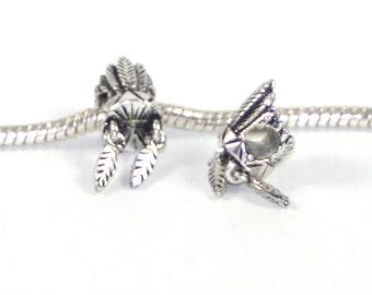 3 Beads - Native American Headress Silver European Charm Bead E0780