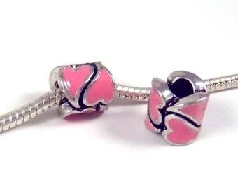 3 Beads - Pink Heart Enamel Barrel Silver European Charm Bead E0850