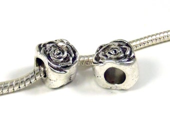 3 Beads -Rose Flower Barrel Silver European Bead Charm E0872