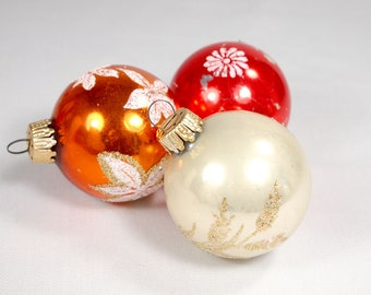 Vintage Glass Ornaments from West Germany Set of 3