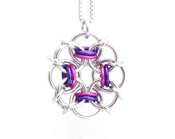 Multicolor Pendant, Chain Maille Pendant, Purple Pink Pendant, Multi Color Necklace