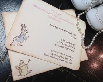 Peter Rabbit Baby Shower Invitation Peter Rabbit Invite Baby Shower  Invitations