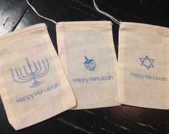 Hanukkah muslin bags-Menorah decoration- Star of David- dreidel - muslin bags- Hannukah favors-Drawstring bags 4x6