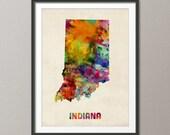 Indiana Watercolor Map USA, Art Print (381)
