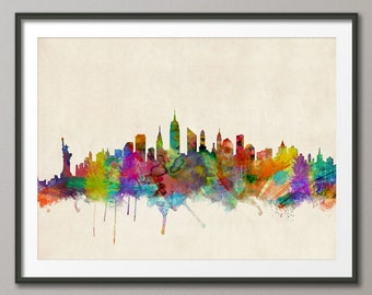 New York Skyline, NYC Cityscape Art Print (295)