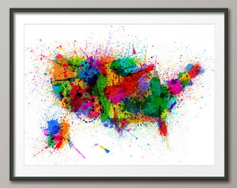 A USA Map Print United States Map Typography Map Map - Artistic map of us