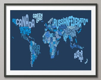 Typography Text Map of the World Map, Art Print (602)