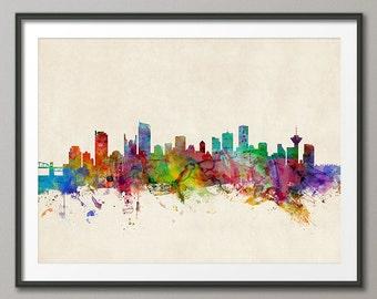 Vancouver Skyline, Vancouver Canada Cityscape Art Print (670)