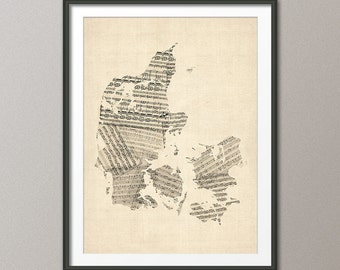Denmark Old Sheet Music Map, Art Print (985)