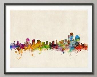 Wilmington Skyline, Wilmington Delaware CityscapeArt Print (174)