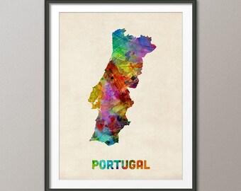 Portugal Watercolor Map, Art Print (998)