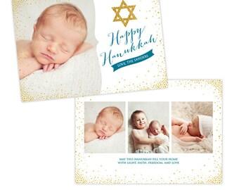 INSTANT DOWNLOAD - Hanukkah Card Photoshop template - e961