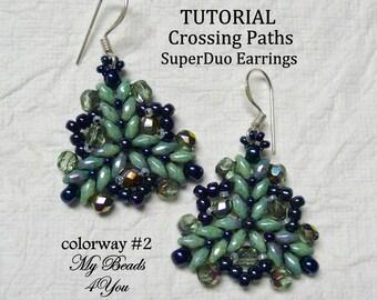 PDF Tutorial Earrings, SuperDuo Tutorial, Seed Bead Earrings Tutorial, Earring Pattern Instructions, Beadwork Tutorial, Beadwoven Earrings