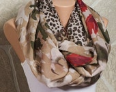 Cowl Fall scarf. Brown and Beige and Red and Cream. Leopard pattern. Oversize cotton fabric Loop scarf.