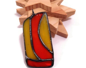 Stained Glass Jewelry Pendant The Curve Pendant Necklace Handmade Jewelry Orange and Yellow Glass Pendant Glass and Metal Jewelry  Pendant