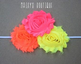 Neon Headband/ Shabby Flower Headband/ Newborn Headband/ Baby Headband/ Flower Girl/ Wedding/ Photo Prop