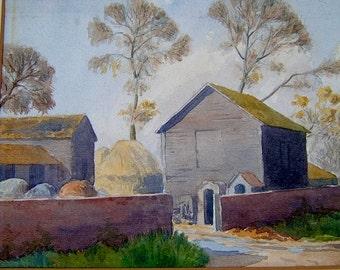 Vintage Art OOAK Painting Vintage Watercolor Painting Vintage Landscape Painting of an English Farm Signed EM Jack