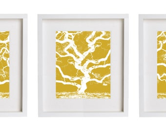 Tree Wall Art Print Set of Three in Flax Sienna Color