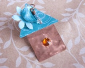 Fairy House or Birdhouse Brooch Turquoise and Copper Recycled Metal Soda Can Eco Fashion