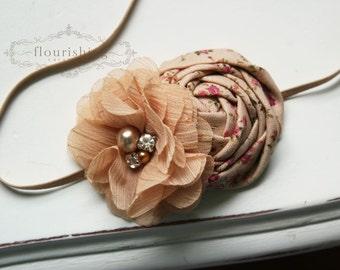 Vintage Floral Rosette headband, baby headbands, newborn headbands, shabby chic headbands, photography prop, tan headbands