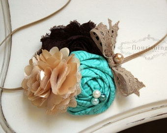 Turquoise, Tan and Brown flower headband, newborn headband, fall headbands, photography, turquoise headbands, brown headbands