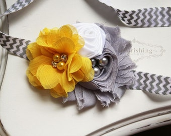 Yellow and Grey Chevron headband, grey headbands, yellow headbands, newborn headbands, photography prop