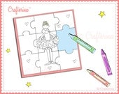 Printable Coloring Puzzles - Ballerina - Crown - Castle - Slipper - Tutu- PDF - DIY Printable