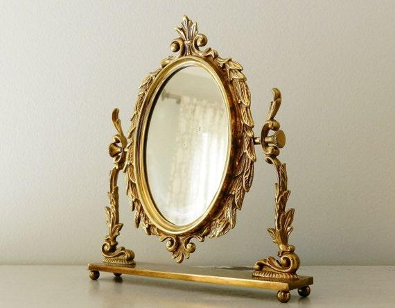 Vintage Brass Mirror Small Dresser Vanity Stand Mirror Rococo