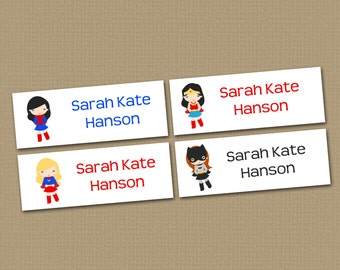 Personalized Waterproof Label Stickers - Superhero Girls - Perfect for Bottles, Sippy Cups, Daycare, School - Dishwasher Safe