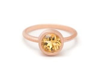 Citrine in Rose Gold Gemstone Ring - Rose Gold Ring - Gemstone Ring - Sizes 4.5, 5, 5.5, 6, 6.5, 7, 7.5, 8, 8.5, 9, 9.5 and 10