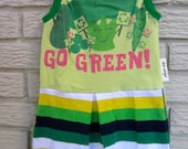 Girls Size 12 Month Go Green Sleeveless Knit Dress. Green, Yellow, White, Pleated, Black Friday/Cyber Monday/Free Shipping /Gifts under 50