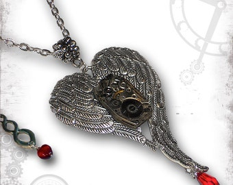 Winged Heart Steampunk Necklace - Za Dee Da The UnRequited Collection - Oh My Bleeding Heart