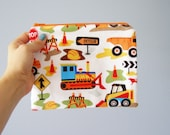 pencil case - elementary school, middle school construction theme pencil case - cotton fabric - back to school - colorful