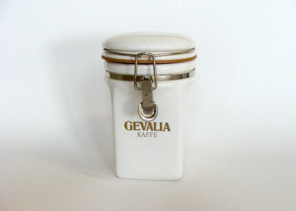 White Gevalia Kaffe Ceramic Coffee Canister Jar Retro Coffee