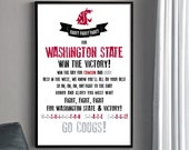 WSU COUGARS Fight Song Poster - Washington State University