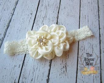 Ivory Cream Headband Pearl Rhinestone -  Photo Prop - Newborn Infant Baby Toddler Girls Adult Wedding