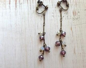 Purple Long Chain Clip-on Earring, Opal White Dangle Clip On, Drop Clip earrings