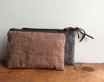 Brown Linen Coin Purse, Small Zipper Pouch, Brown Change Purse, Linen Zipper Wallet, Gift for him, Mens Coin Pouch