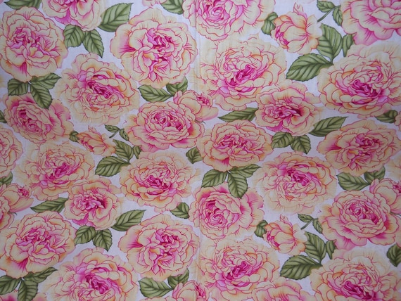 Roses Fabric, Pink/Yellow/Green Floral Fabric, Decorative