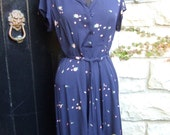 1940s Flower Print Midnight Blue Rayon Belted Dress
